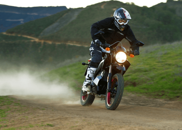 A man runing electric motorcycle